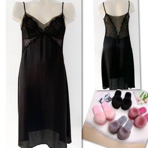Oysho Intimates & Sleepwear - OYSHO BLACK LACE SLIP NIGHTDRESS USA SZ M